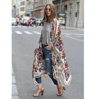 New Women Chiffon Kimono Cardigan Floral Print Asymmetric Boho Loose Outerwear Beachwear Bikini Cover Up White - intl - 2