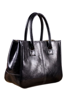 New Women Faux Leather Handbag Shoulder Tote Bag Large SatchelBlack/Brown - Intl