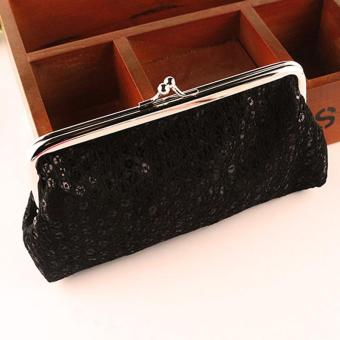 New Women Lovely Style Lady Wallet Hasp Sequins Purse Clutch Bag Black - intl .