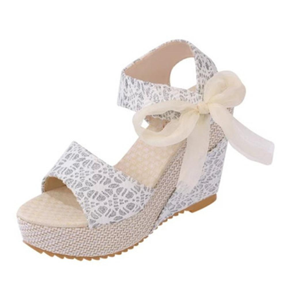 New Women's Heel Sandals Slope Heavy-bottomed Shoes Shallow Peep-toe .