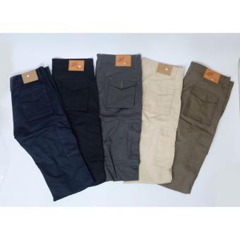 NHS Celana Cargo Panjang Slim Fit [Abu Tua] - 4