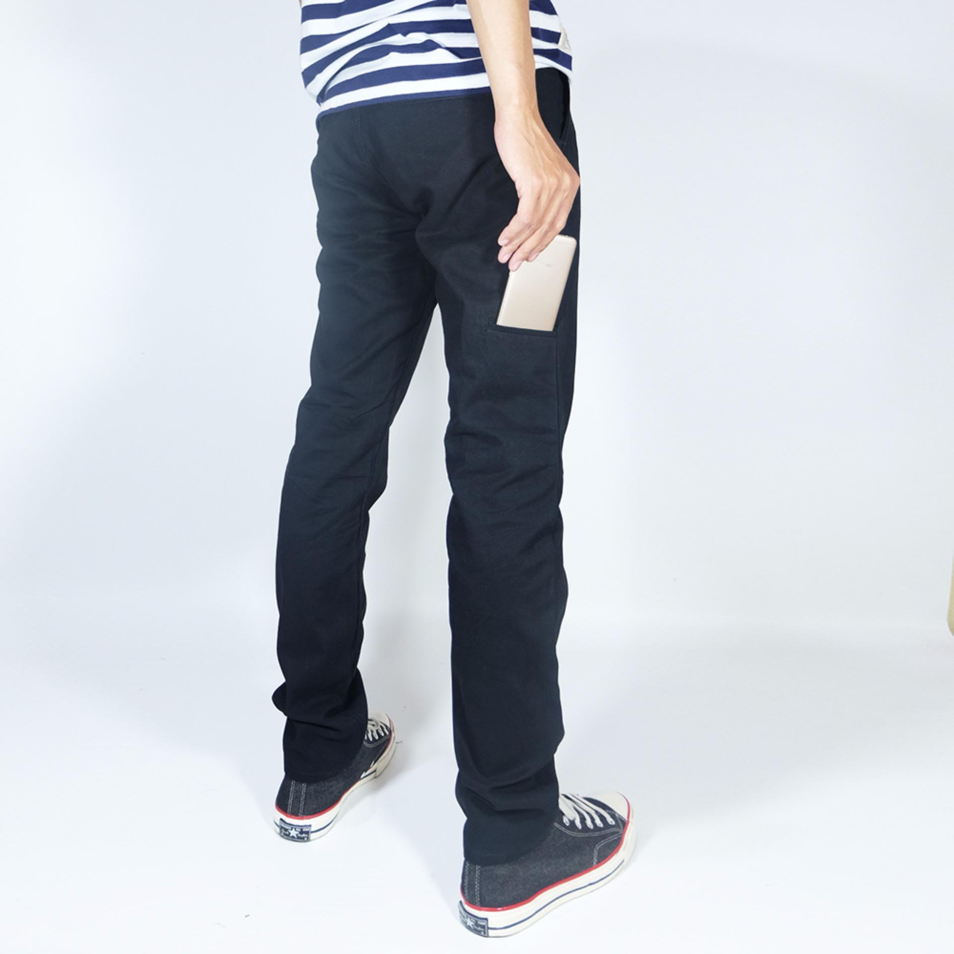 ... NHS Celana Chino Pria Pocket Straight Fit [Hitam] ...