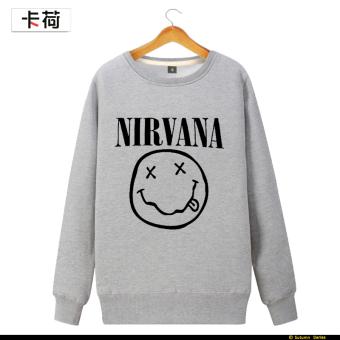 Nirvana kartu musim semi dan musim gugur bagian tipis leher bulat sweater ( Abu-abu