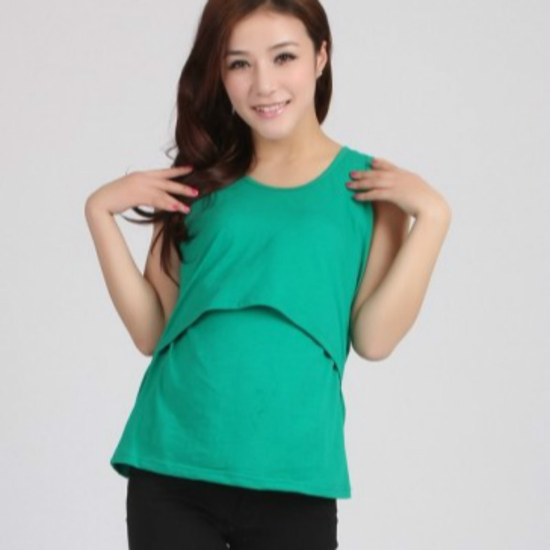 Nursing Tops Maternity Clothes Short Sleeve T-shirt Pregnancy Breastfeeding Clothes For Pregnant Women (Green) - intl