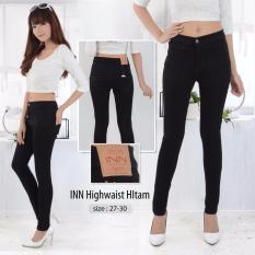 Nusantara Jeans - Celana Panjang Wanita Haigwaist Model Tinggi Sepuser Retsleting Kuat Berbahan Denim - Hitam
