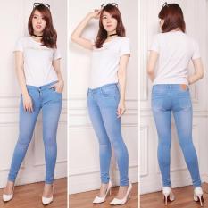 Nusantara Jeans Celana Panjang Wanita Model Skinny Street Berbahan Denim Bagus Jahitan Rapi Murah - Ice Blue