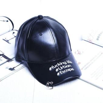 Harga Terbaru Ocean New Men Fashion Hats PU Simple Sun Sports Street Baseball Hat Unisex(