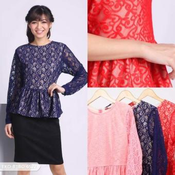 Omah Fesyen Dazkila Leaves Peplum Blouse - Navy Int:L