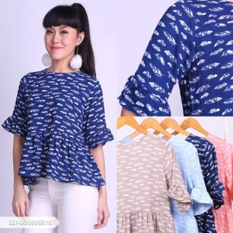 Omah Fesyen Ralivina Feather Ruffle Blouse - Navy Int:M