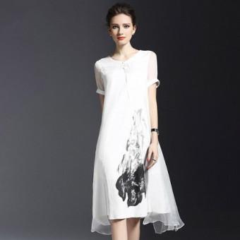 Oriental Style retro yard besar palsu dua tombol piring gaun linen gaun sutra (Putih) ...