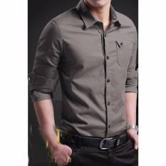 Ormano Kemeja Pria Slimfit Panjang Trend Fashion Pakaian Pria Slim Fit Millert All Size Fit to M, L - Gray