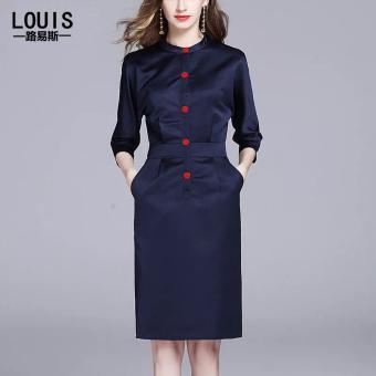 Ouzhouzhan saku tipis Lengan gaun kemeja rok (Biru tua)