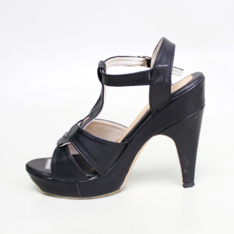 Own Works Pump Shoes Toe High Heels T Strap Hitam .