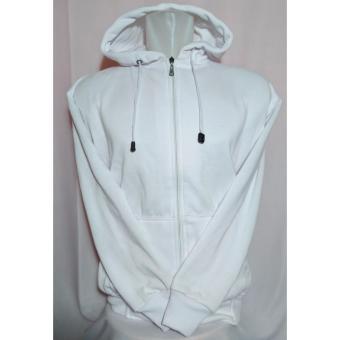 Palemo Jaket Sweater Polos Hoodie Zipper Putih Polos -Unisex