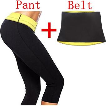 ( Pant + Belt ) Hot Shaper Body Shapers Waist Trainer Slimming Panties Pants & Belts Super Stretch Neoprene Breeches For Women - intl
