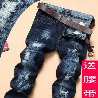 Gambar Patch Slim Stretch Lurus Celana Pengemis Celana Jeans Pria (515 biru tua) (