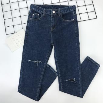 Harga Terendah Patch versi Korea dari patch musim gugur celana baru kaki celana jeans lubang (Biru tua) Price Checker