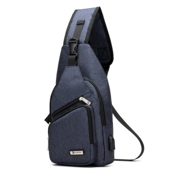PATHFINDER Men Chest Pack Single Shoulder Strap Back Bag CanvasTravel Men Crossbody Bags Rucksack Chest Bag with USBInterface-Blue - intl