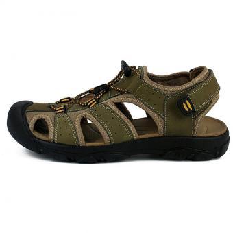 PATHFINDER Men Flat Leather Sporty Slipper Sandals Shoes (Green) -intl .