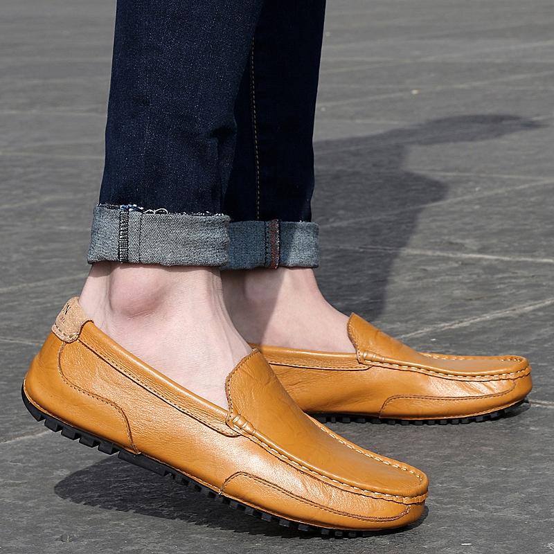 Cheap online Peas Tambah Beludru Kulit Lembut Sepatu Kulit Sepatu Kasual ( 2028 coklat)