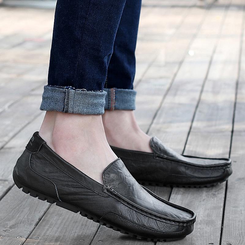 Peas Tambah Beludru Kulit Lembut Sepatu Kulit Sepatu Kasual (2028 hitam)