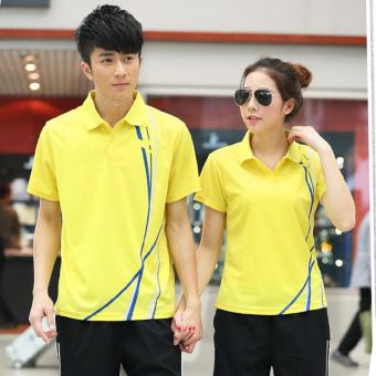 Harga Pecinta celana pendek kemeja POLO kerah musim panas lengan pendek  t-shirt (Kuning 858-011) Ori 778aa159a6