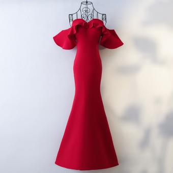 Pengantin baru tipis fishtail gaun malam toast pakaian (Anggur merah)