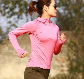 Beli Perempuan lengan panjang cepat kering pakaian yoga kebugaran pakaian kebugaran kemeja (3342 merah muda Heather Gray) Online