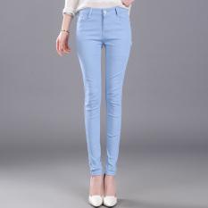 Celana Panjang Wanita Warna Hitam/Biru Kain Denim Pinggang Tinggi Santai Versi Korea (Biru