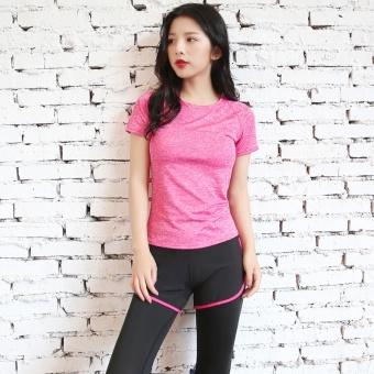 Jual Perempuan musim panas yang pendek cepat kering pakaian pakaian Workout  (Rose t-shirt + merah tepi celana) Online 6449677de6