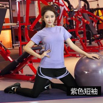 Perempuan musim semi dan musim panas cepat kering olahraga pakaian pakaian yoga Workout jaket (Ungu)