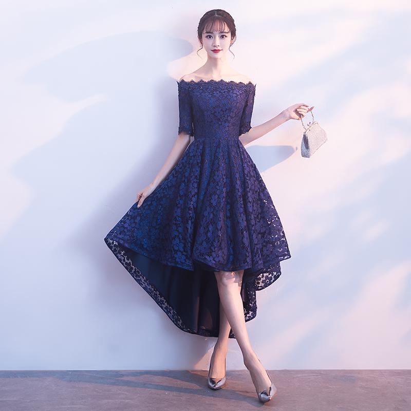 Perempuan Renda Terlihat Langsing Pesta Gaun Gaun Malam (Biru Tua 133)