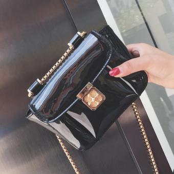 Permen berwarna perempuan rantai tas tas jelly (Hitam)