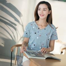 Permen berwarna versi Korea dari kapas perempuan longgar blus t-shirt (Biru)