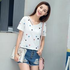 Permen berwarna versi Korea dari kapas perempuan longgar blus t-shirt (Putih)