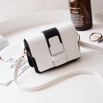 Persegi kecil Korea perempuan baru memukul warna Messenger Bag tas (Putih)