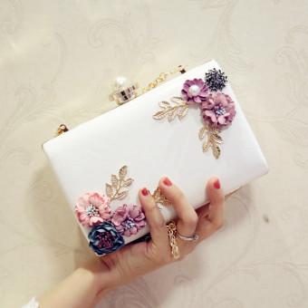Persegi kecil mutiara berlian perjamuan paket diagonal tas wanita clutch tas (Putih)