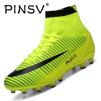 PINSV Children Football Shoes TF/FG/AG Long Spikes Training Football Boots Hard-wearing Soccer Shoes-Green - intl ...