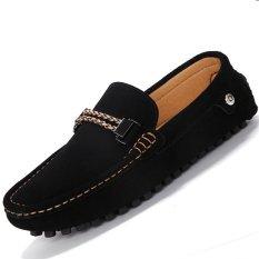 PINSV Flat Kulit Sepatu Loafers Pria Kasual Mengenakan (Hitam)