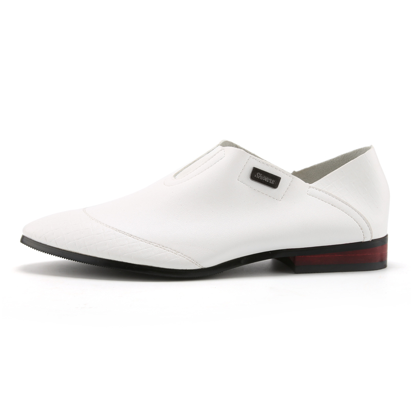 PINSV Mens Classic Formal Shoes Loafers Business Shoes (White) .