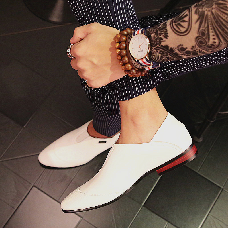 PINSV Mens Classic Formal Shoes Loafers Business Shoes (White) ...