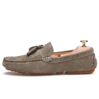 PINSV Rumbai Bahan Suede Sepatu Kasual Pria Flat Loafers Mengenakan(Dril) - 3