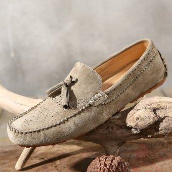 PINSV Rumbai Bahan Suede Sepatu Kasual Pria Flat Loafers Mengenakan(Dril) - 5