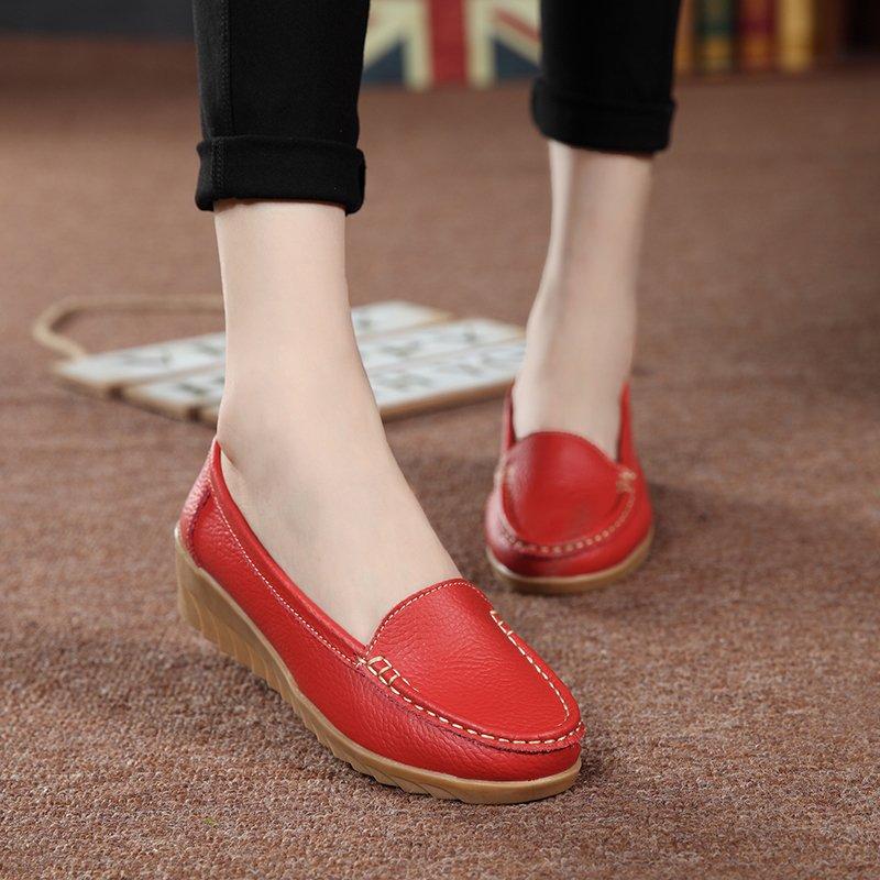 ... PINSV Wanita Was Wearing Her Kulit Serta Kayu Cendana Mah AntiSelip Loafers (Merah) ...
