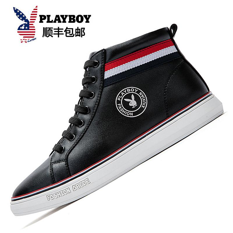 Flash Sale PLAYBOY Gaya Korea kasual tinggi atas sepatu pria 39109 hitam . 735fee9984