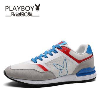Harga PLAYBOY Gaya Korea muda Pria Pria I kasual sepatu (Putih/abu-abu terang)