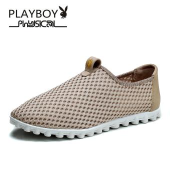 PLAYBOY kasual bernapas jala pria sepatu pria sepatu sepatu (Khaki)