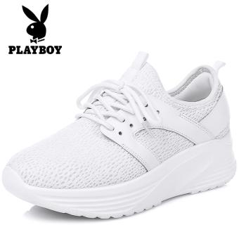PLAYBOY kasual sepatu wanita meningkat sepatu yang berat itu sepatu putih (Putih)