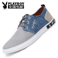PLAYBOY Korea Fashion Style bernapas jala pria renda sepatu olahraga sepatu pria (Abu-abu