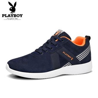 PLAYBOY Korea Fashion Style Hangat Sepatu Sepatu Pria (Biru Tua)
